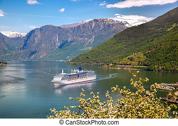Cruise ship in fjord, Flam, Norway
