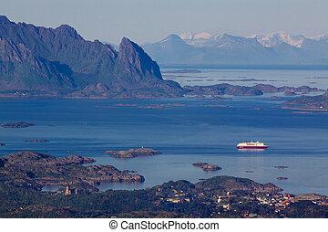 Cruise ship in fjord on Lofoten - Large cruising ship...