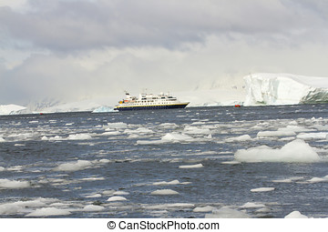 Cruise ship in icy Antarctica waters