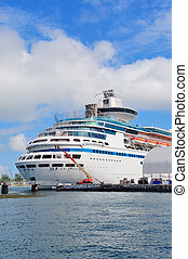 Cruise ship in Miami - Cruise ship park at Miami dock with...