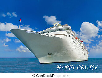 Cruise ship in open water side view
