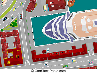 cruise ship in port, cartoon illustrations