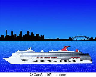 cruise ship in Sydney - cruise ship and Sydney Australia...