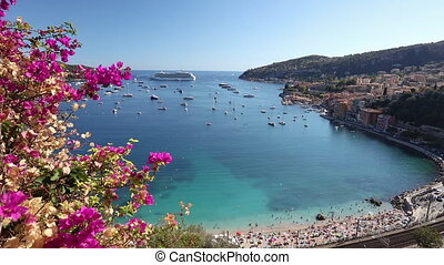 Cruise ship in the bay, Villefranche Sur Mer, Cote d'Azur,...