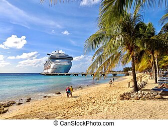 Cruise ship in the Caribbean - Cruise ship docked in the...