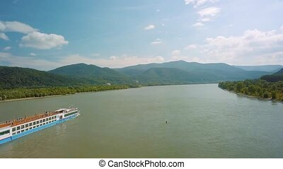 Cruise ship in the Danube Bend - Cruise ship on river...