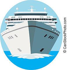 Cruise ship in vector