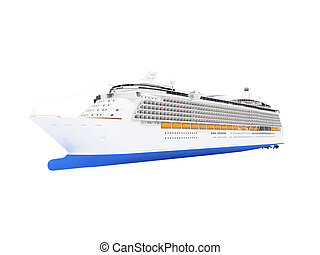 Cruise ship isolated front view - isolated cruiser over...