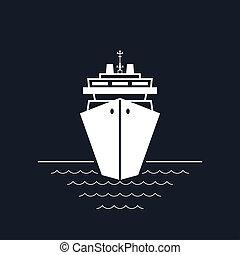 Cruise Ship Isolated on Black