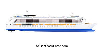 Cruise ship isolated side view - isolated cruiser over white