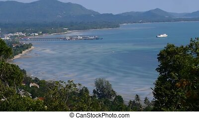 Cruise Ship leaves Pier, Gulf of Siam, Thailand, Koh Samui