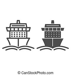 Cruise ship line and solid icon, Summer journey concept, Ship with waves sign on white background, Cruise travel boat icon in outline style for mobile concept and web design. Vector graphics.