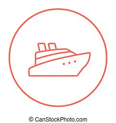 Cruise ship line icon. - Cruise ship line icon for web,...