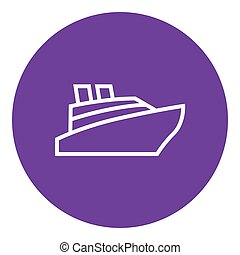 Cruise ship line icon. - Cruise ship thick line icon with...