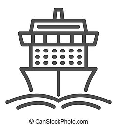 Cruise ship line icon, Summer journey concept, Ship with waves sign on white background, Cruise travel boat icon in outline style for mobile concept and web design. Vector graphics.