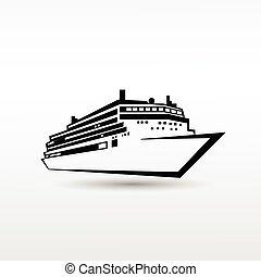 Cruise Ship Logo Black Icon