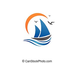 cruise ship Logo Template vector