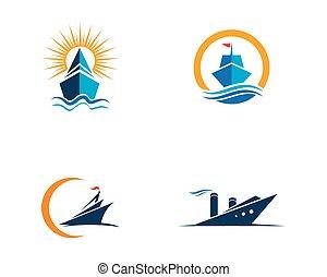 Cruise ship Logo Template vector icon