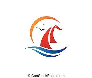 cruise ship Logo Template vector