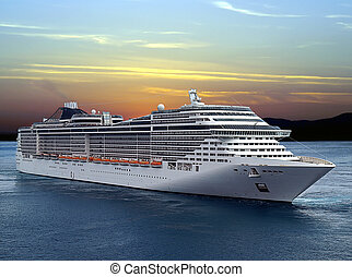Cruise ship - Luxury cruise ship sailing from port on sunset