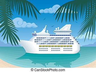 Cruise ship mooring at tropical bay. No transparency used. ...