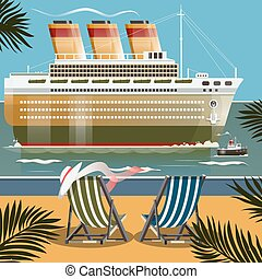 Cruise ship near the shore vector illustration