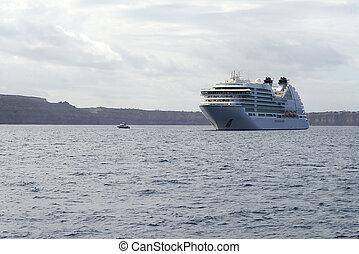 Cruise ship off the coast of Santorini.