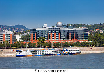Cruise ship on Danube river shore in Budapest