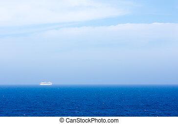 Cruise Ship on Ocean in Fog