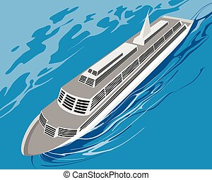Cruise ship on sea - Vector illustration of a cruise ship on...