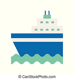 Cruise ship on sea waves flat icon