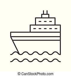 Cruise ship on sea waves thin line icon