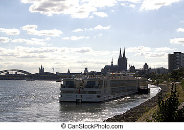 Cruise ship on the river Rhine in Cologne