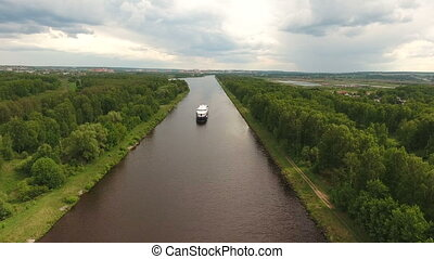 Cruise ship on the river.Aerial view