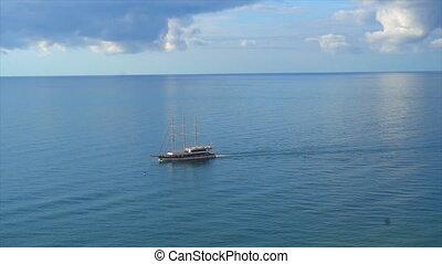 Cruise ship sailing across The Mediterranean sea - Aerial...