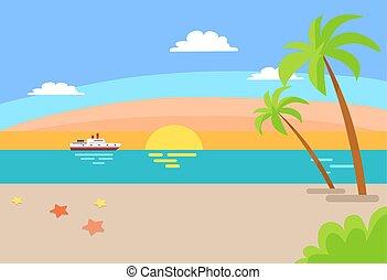 Cruise Ship Sailing Ocean, Summer Beach Landscape