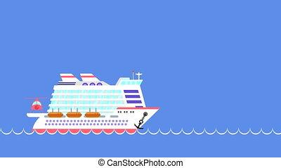 Cruise ship sailing on the sea.