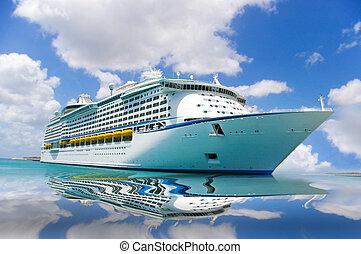 cruise ship side reflect - cruise ship in a caribbean sea