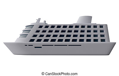 Cruise ship. Side view. 3d rendering