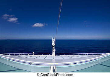 View from the stern (rear) of a luxury cruise ship