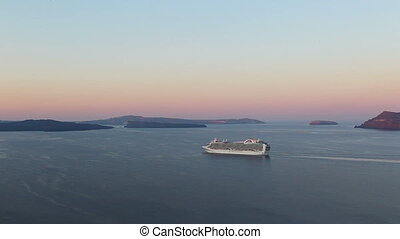 cruise ship sailing into the sunset