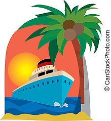 Cruise ship and palm tree on a sunset background