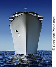 cruise ship - luxury white cruise ship shot from front at...