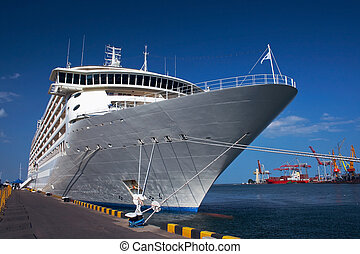 Cruise ship - A luxury cruise ship docked in the port