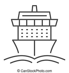 Cruise ship thin line icon, Summer journey concept, Ship with waves sign on white background, Cruise travel boat icon in outline style for mobile concept and web design. Vector graphics.