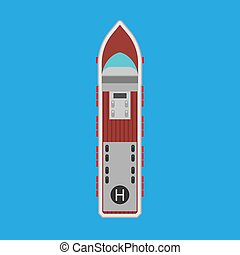 Cruise ship top view vector flat icon. Ocean boat travel journey transport. Sea luxury blue vessel vacation. Summer large liner cartoon