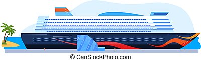 Cruise ship, travel sea, ocean tourism, luxury ship, liner vacation, holiday background, design, cartoon style vector illustration