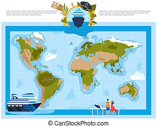 Cruise ship, vacation sea travel, tourism boat, summer holiday, blue tropical liner, design, flat style vector illustration.