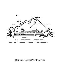 Cruise ship vector flat line illustration