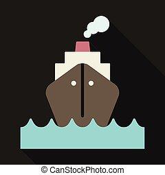 Cruise Ship vector Illustration. Retro styled cruise ship on the ocean.